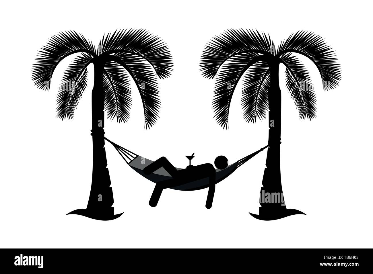 man in a hammock between palms pictogram isolated on white background vector illustration EPS10 - Stock Image