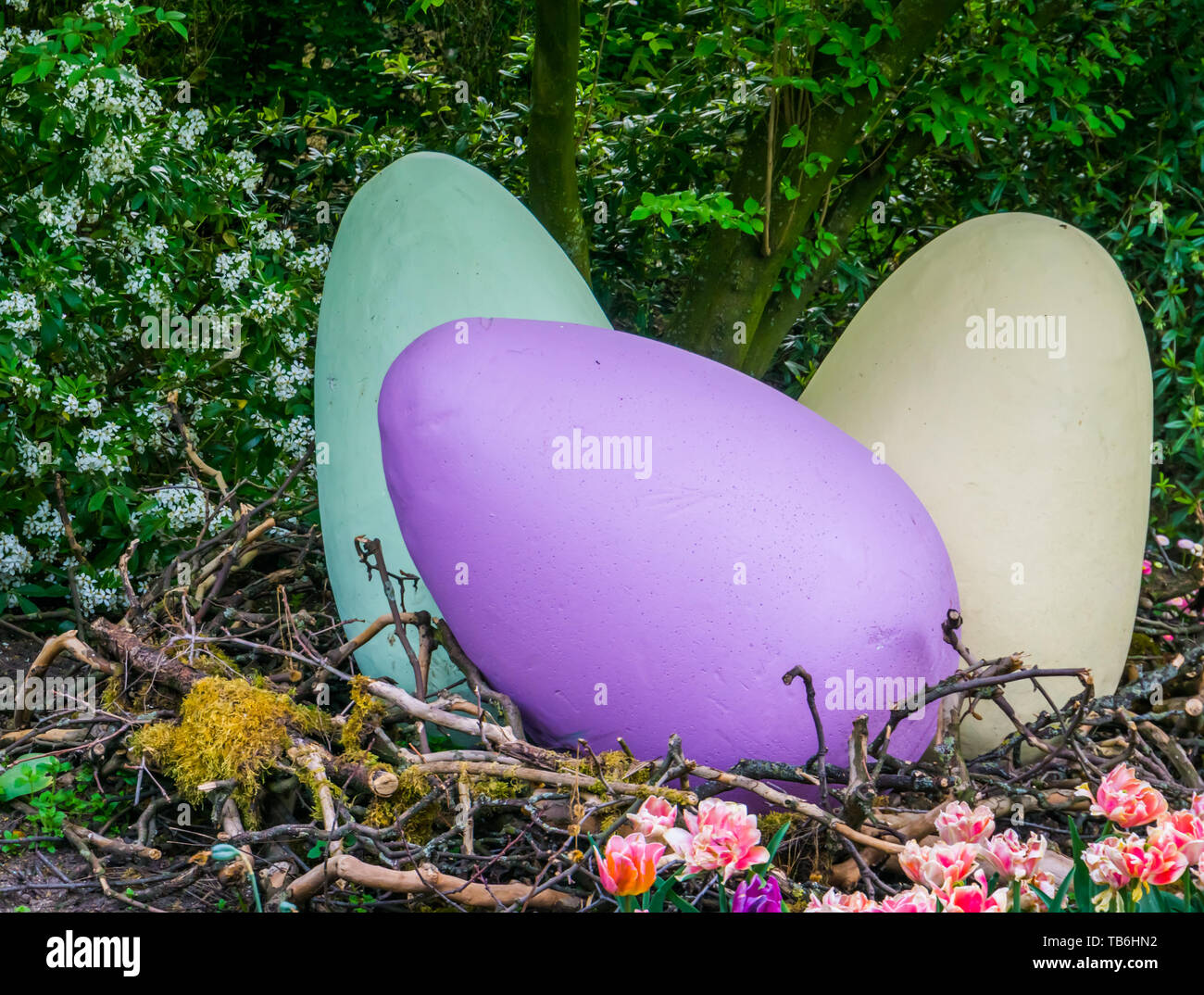 Large Vivid Colored Easter Eggs In A Big Birds Nest Outdoor