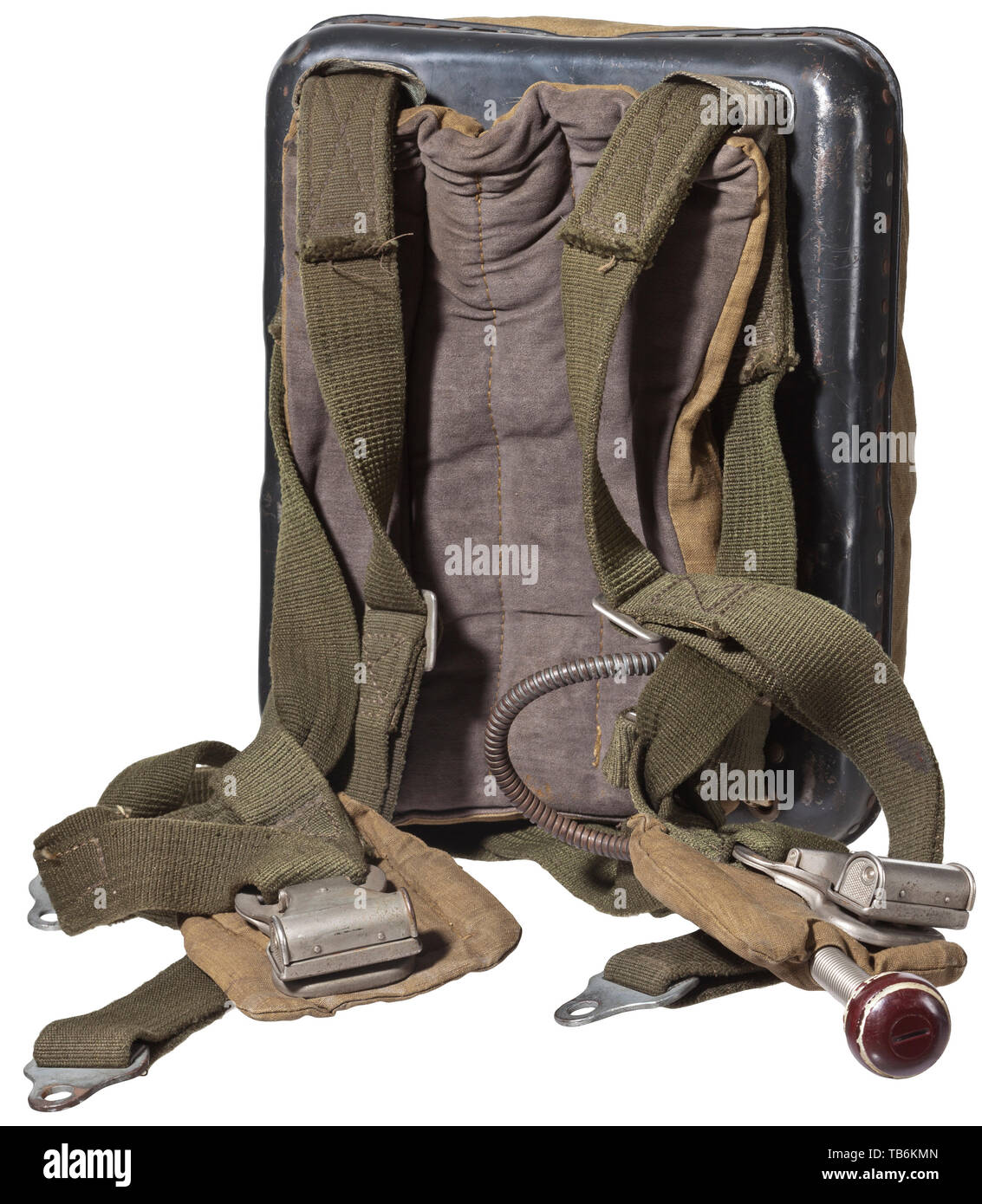 """A back parachute model RH-28, with bag, Packed, with many extension belts and other elements. Type specification plate with request sign """"402008"""" and inscription """"Rückenfallschirm"""", rip cord with grip, also """"Gerät-Nr. 10-409-A1"""", serial number """"10?8512"""". Includes green linen storage bag with patent press buttons """"DRP - Zieh hier"""" and stamp """"FL 3.1220"""", two handles. Not checked for functionality and completeness, parts partially stamped and labelled. Cf. auction 67, lot no. 7173 or auction 64, lot no. 7462. Parachutes of this type were used for the Me-262 jet fighter. Rare. , Editorial-Use-Only Stock Photo"""
