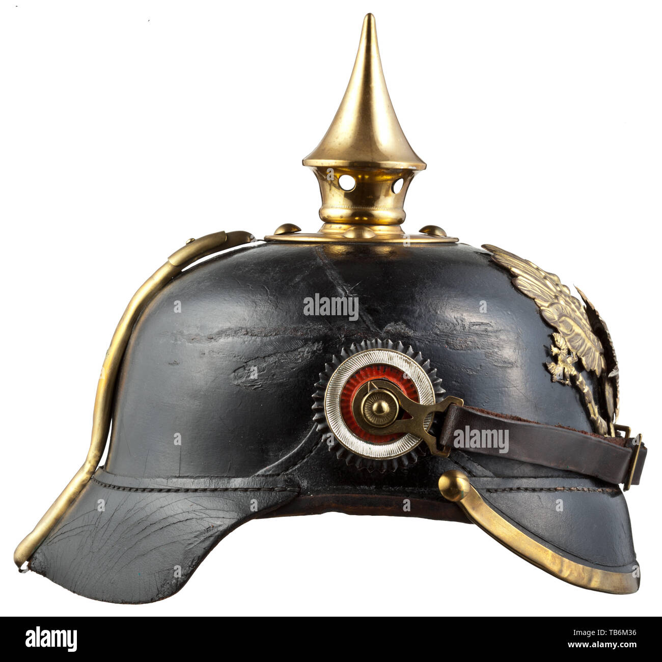 Body armour, helmets, Prussian helmet model 1891/1895 for enlisted men and non-commissioned officers of the guards, leather with brass fitting, Editorial-Use-Only - Stock Image