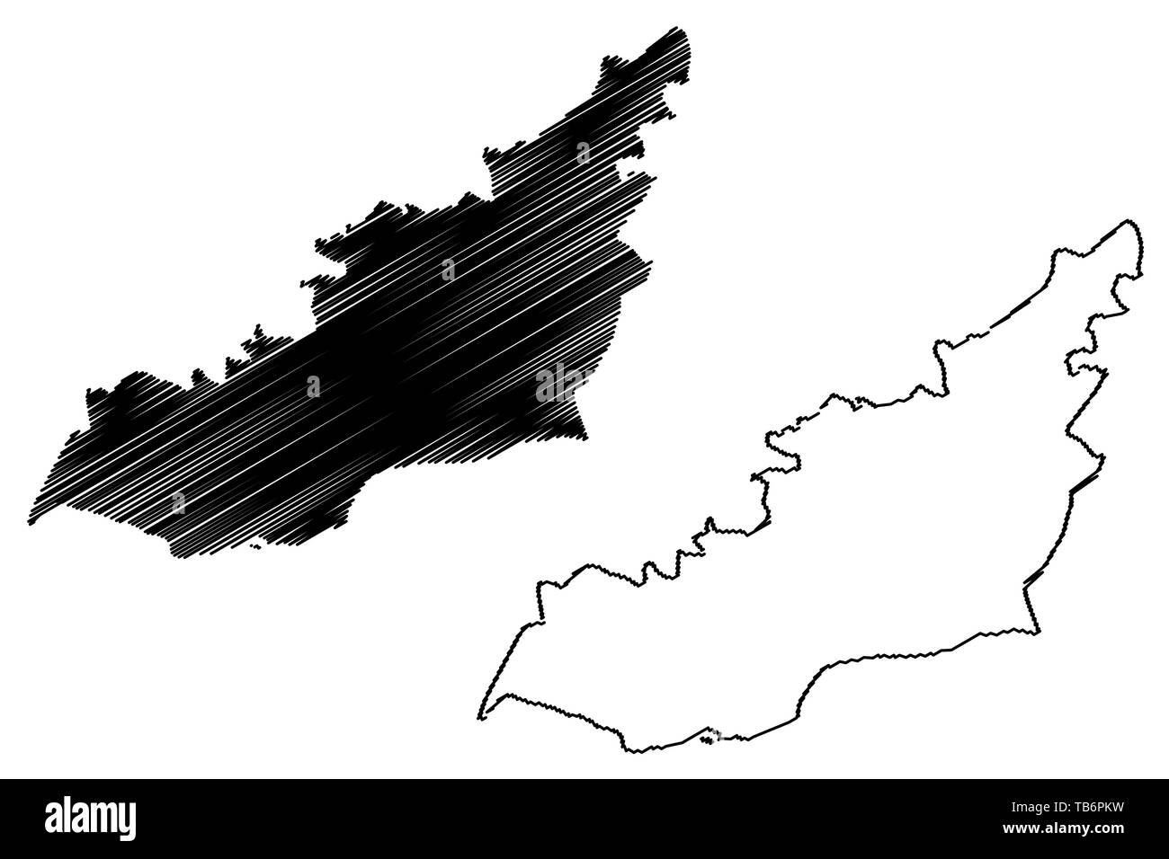 Lahij Governorate (Governorates of Yemen, Republic of Yemen) map vector illustration, scribble sketch Lahij map Stock Vector