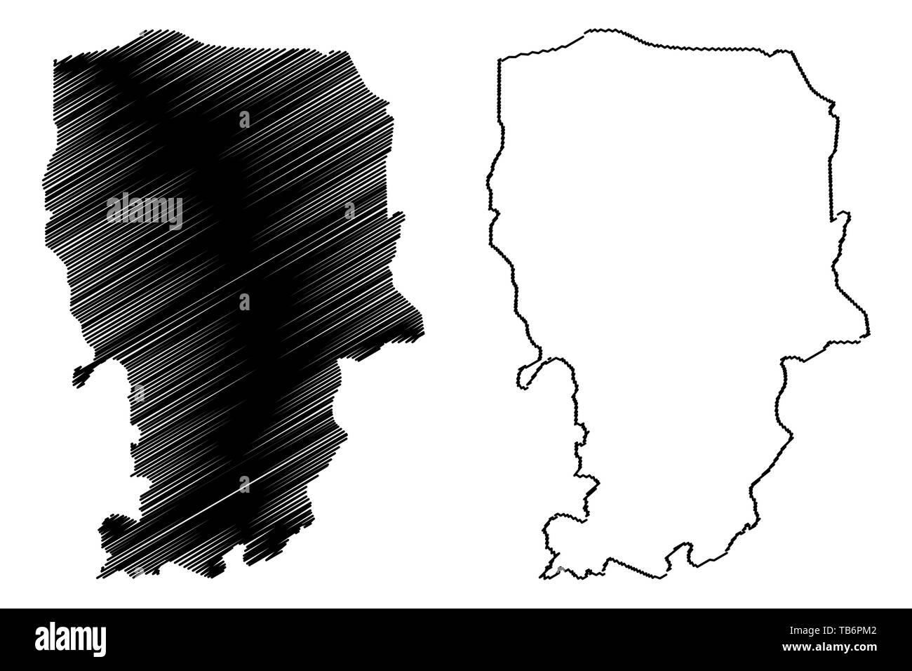 Amran Governorate (Governorates of Yemen, Republic of Yemen) map vector illustration, scribble sketch 'Amran map - Stock Vector