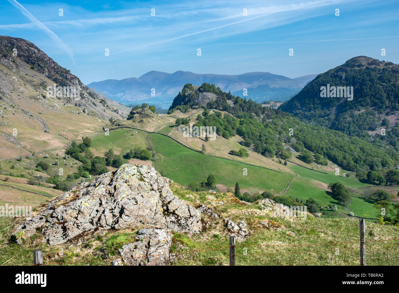 The view in Borrowdale Valley,  Cumbira, Lake District National Park UK which forms part of the Allerdale Ramble, with Castle Crag in the background - Stock Image