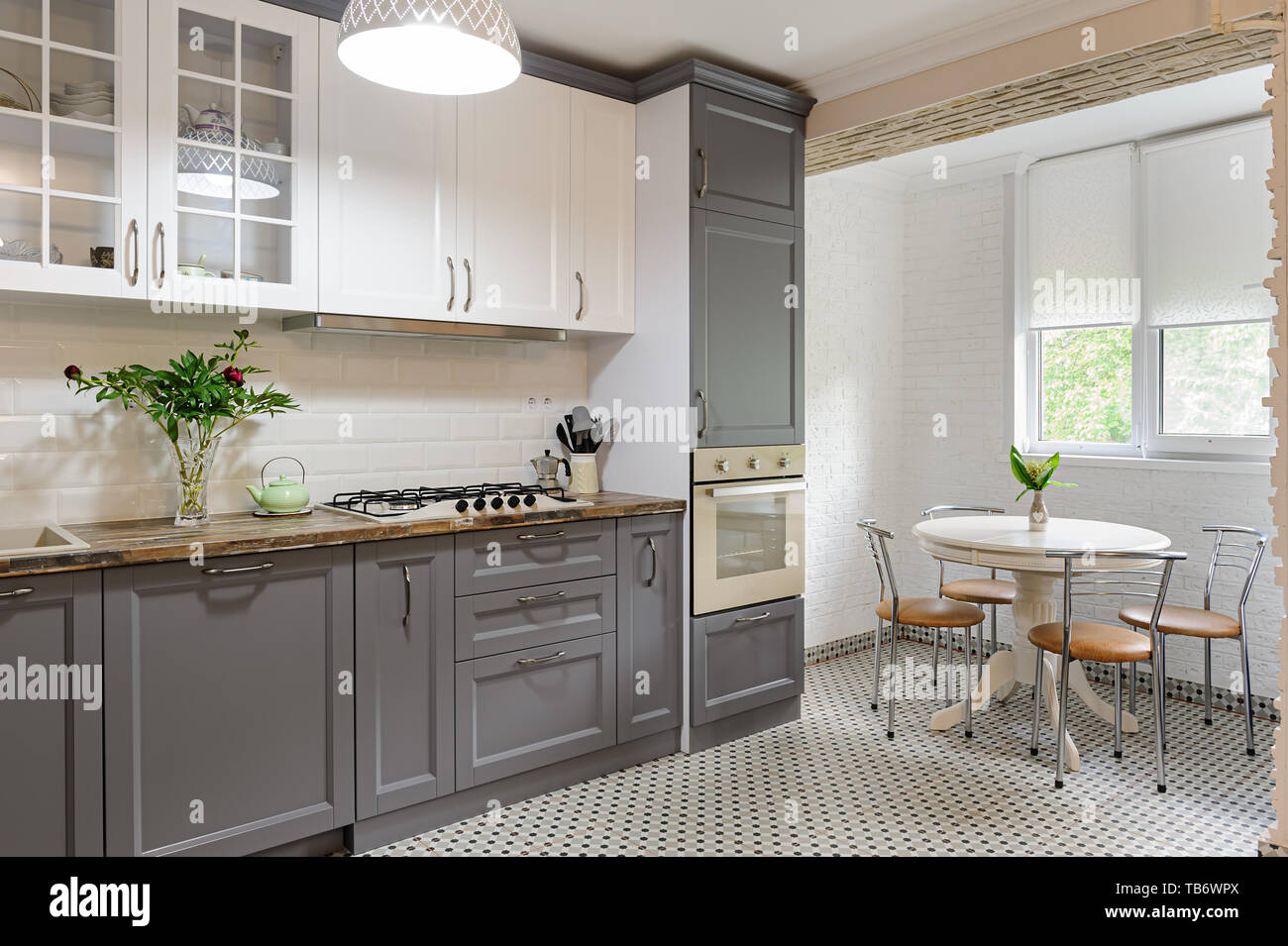 Modern Grey And White Wooden Kitchen Interior Stock Photo Alamy