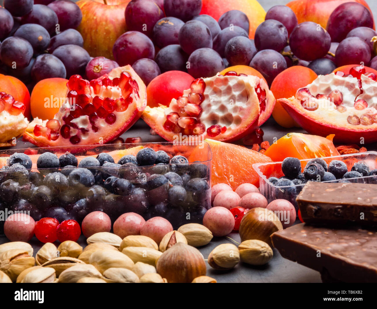 Healthy Super Food Selection Background As Fruits Berry