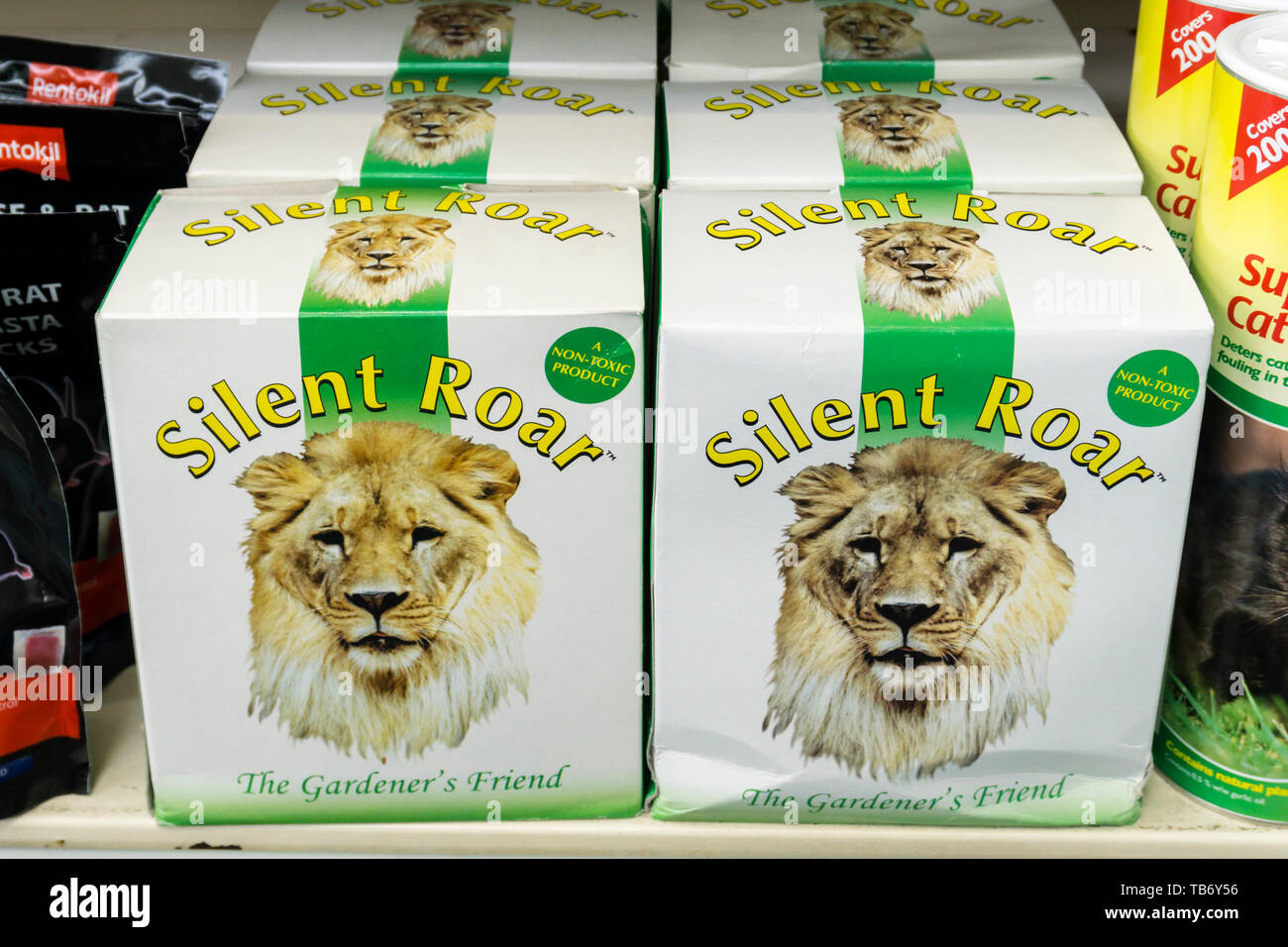 Silent Roar is a nitrogen based fertiliser which has been soaked in lion dung to deter domestic cats. - Stock Image