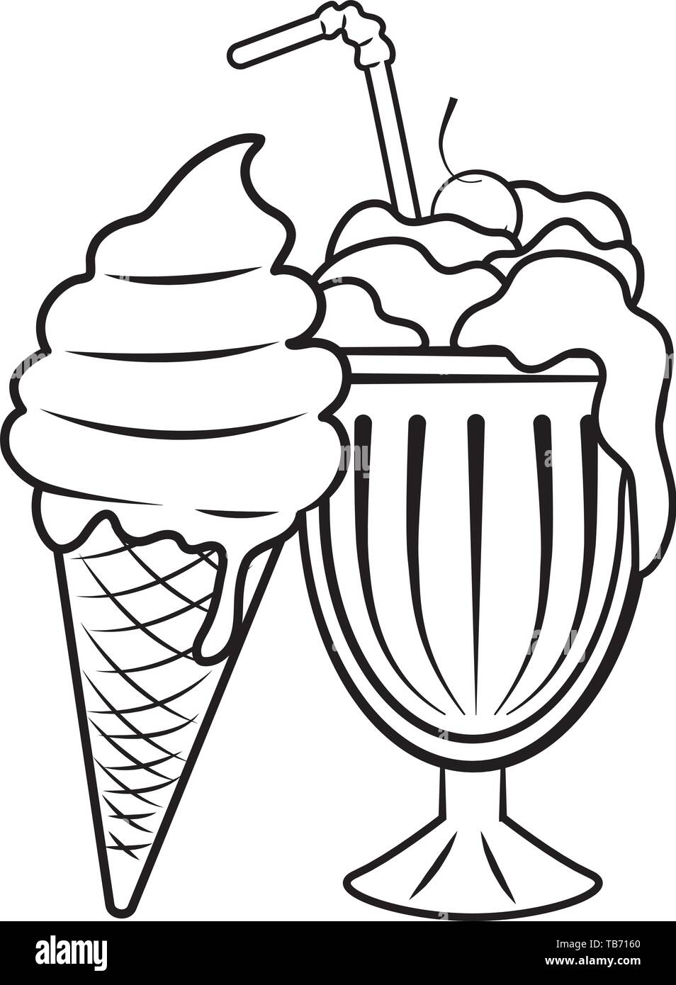 milk shake and ice cream icon cartoon black and white vector illustration graphic design stock vector image art alamy https www alamy com milk shake and ice cream icon cartoon black and white vector illustration graphic design image247860984 html