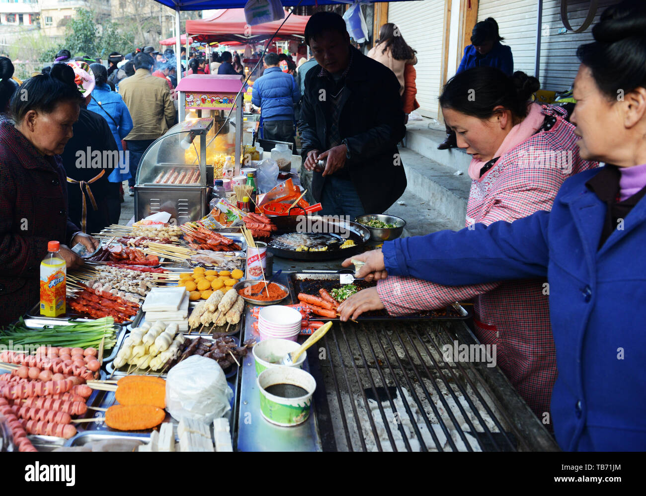 Grilled sausages stall in Guizhou, China Stock Photo
