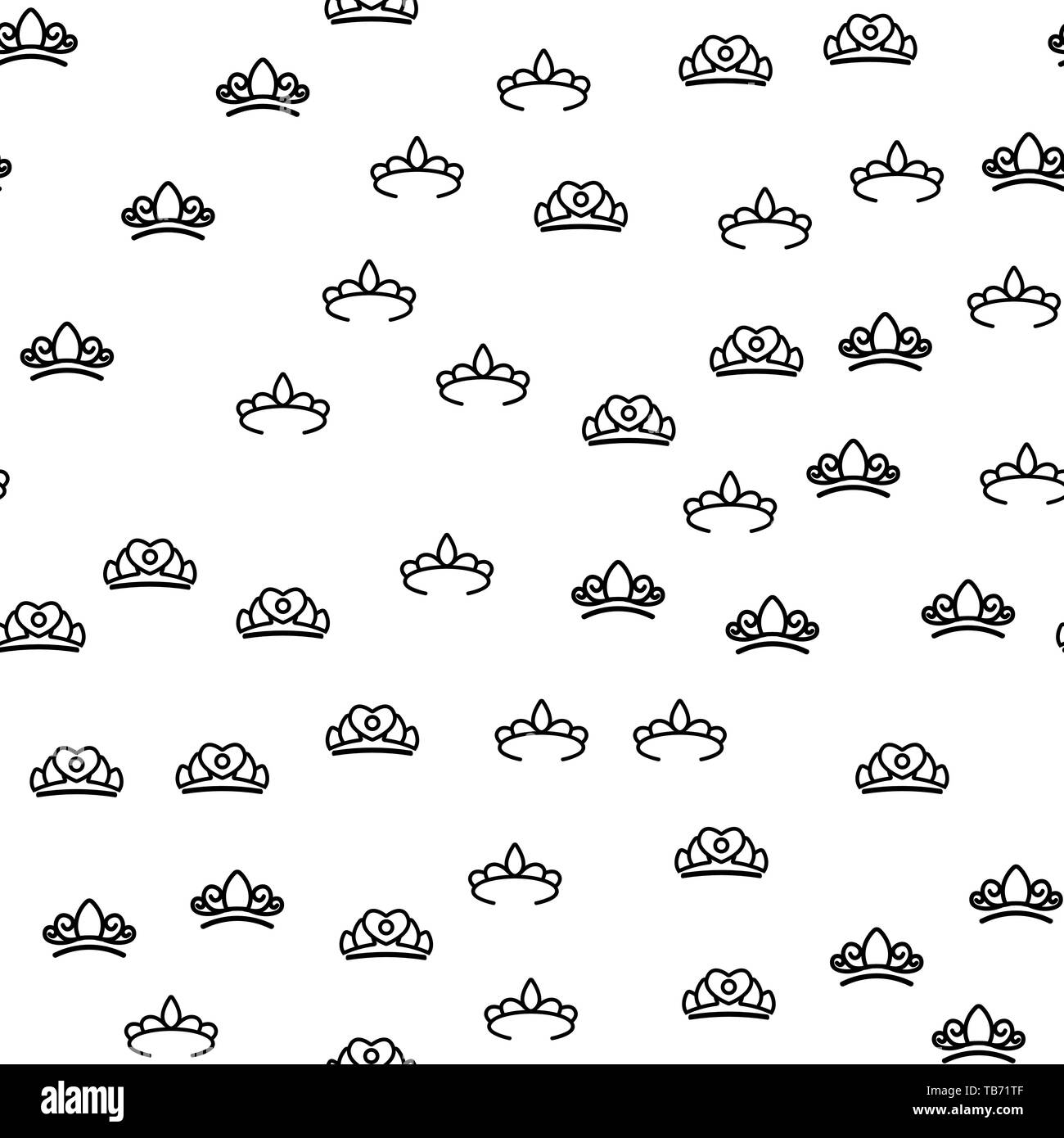 Jewelry Aristocracy Crowns Seamless Pattern Vector. Fashion Aristocraty Queen Or Princess Tiara Monochrome Texture Icons. Classic Symbol Of Monarch Au - Stock Image