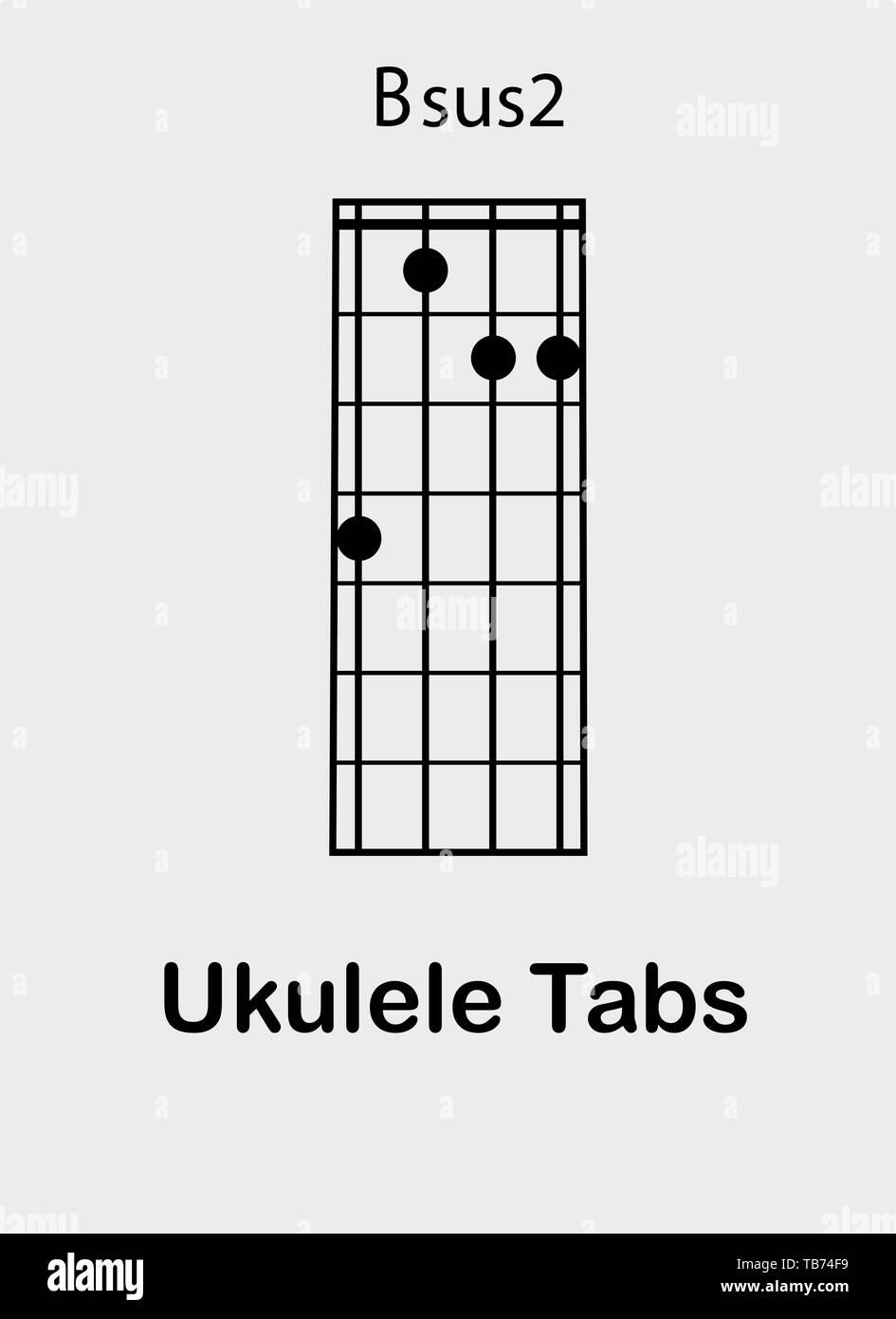 Ukulele tabulator with B sus15 chord, vector illustration Stock ...