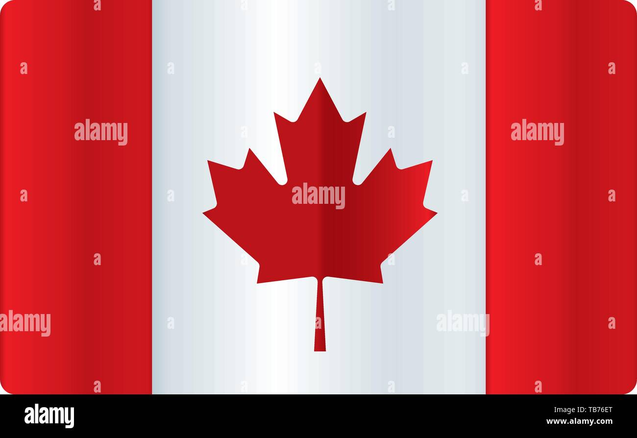 Vector illustration. Shiny canada flag. Clean and soft color degradations. - Stock Image