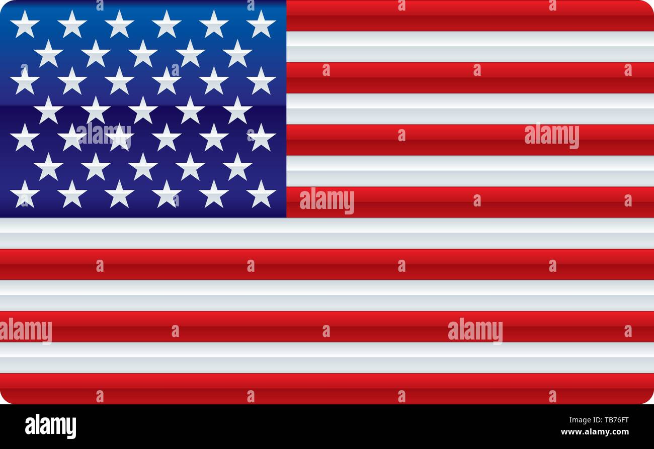Vector illustration. Shiny usa flag. Soft color degradations in bars and stars. - Stock Image
