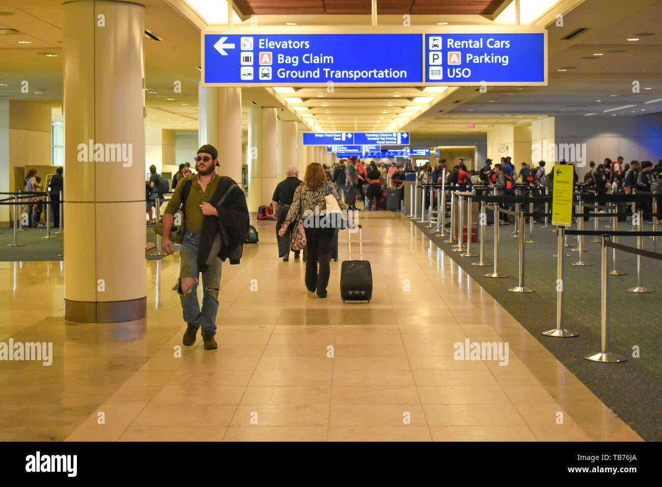 Orlando, Florida.  March 01, 2019. People walking in Check-in and Ticketing area at Orlando International Airport  (1) - Stock Image