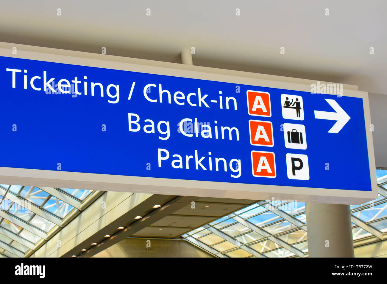 Orlando, Florida.  March 01, 2019. Top view of Terminal A Ticketing and Check-in sign at Orlando International Airport . - Stock Image