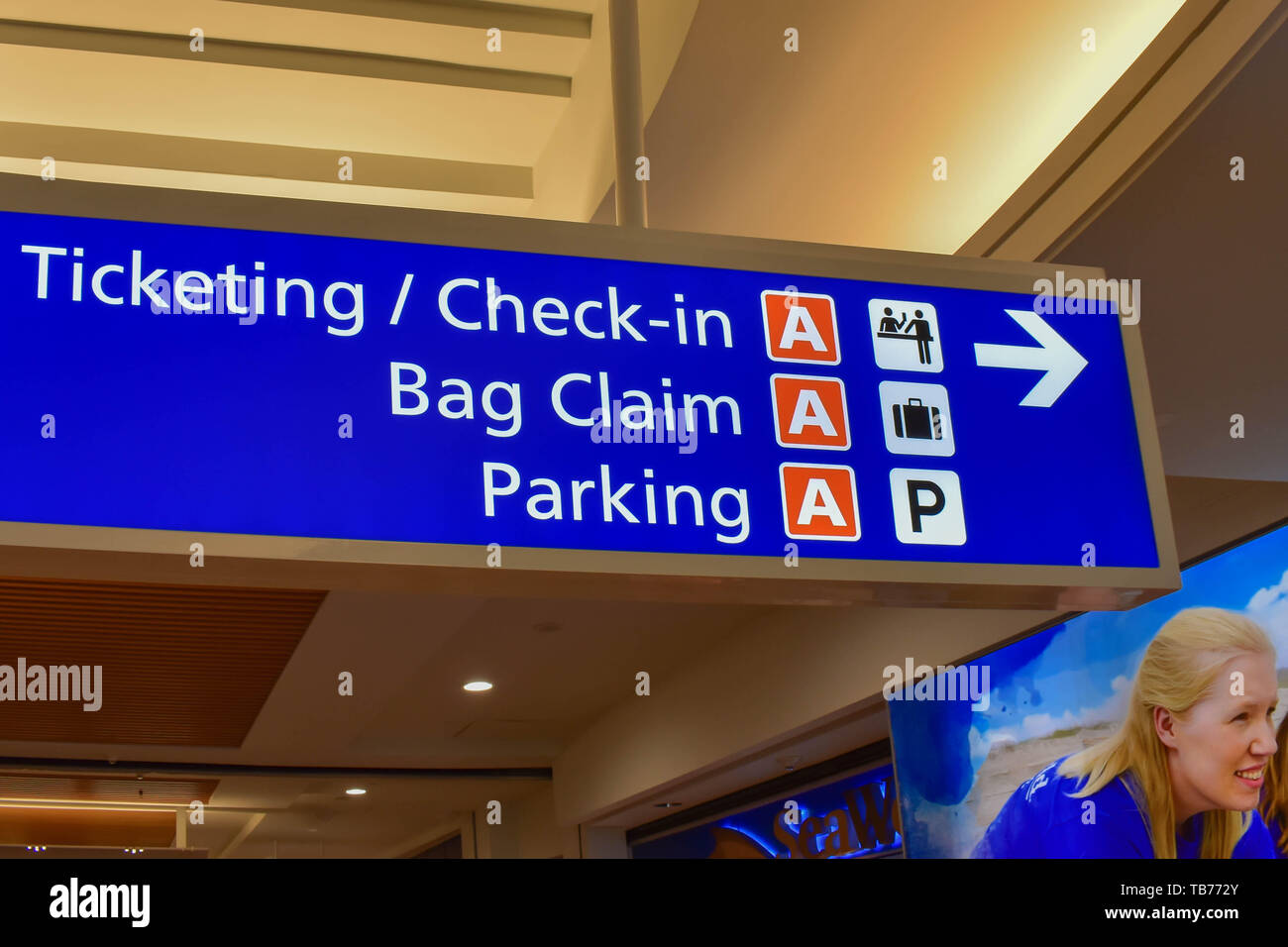 Orlando, Florida.  March 01, 2019. Top view of Terminal B Ticketing and Check-in sign at Orlando International Airport  (2) - Stock Image