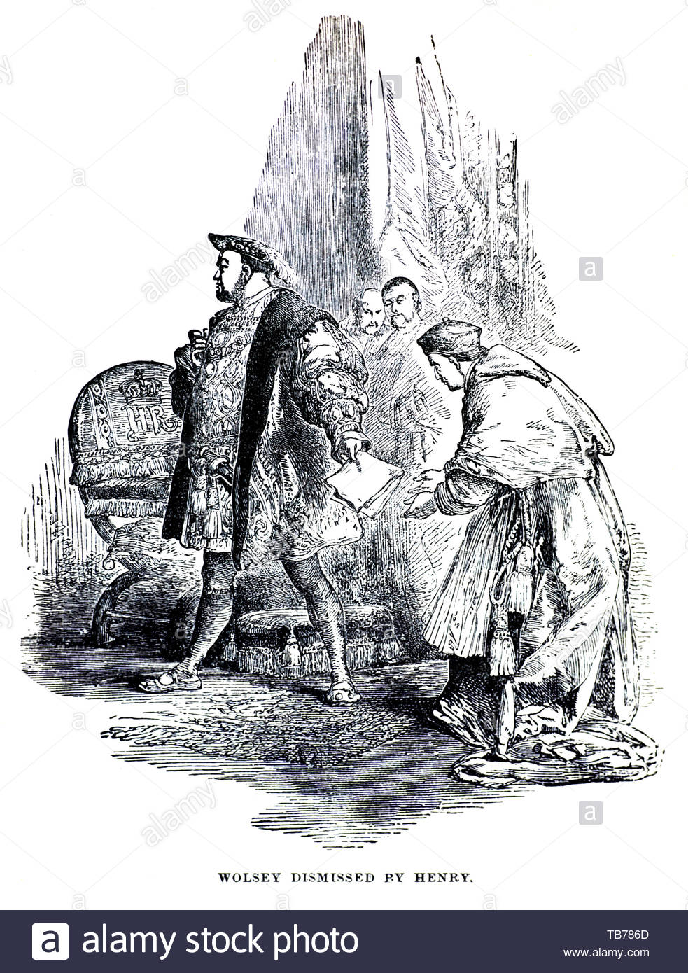 Cardinal Wolsey being dismissed from the Lord Chancellor of England post by Henry VIII in 1529 - Stock Image