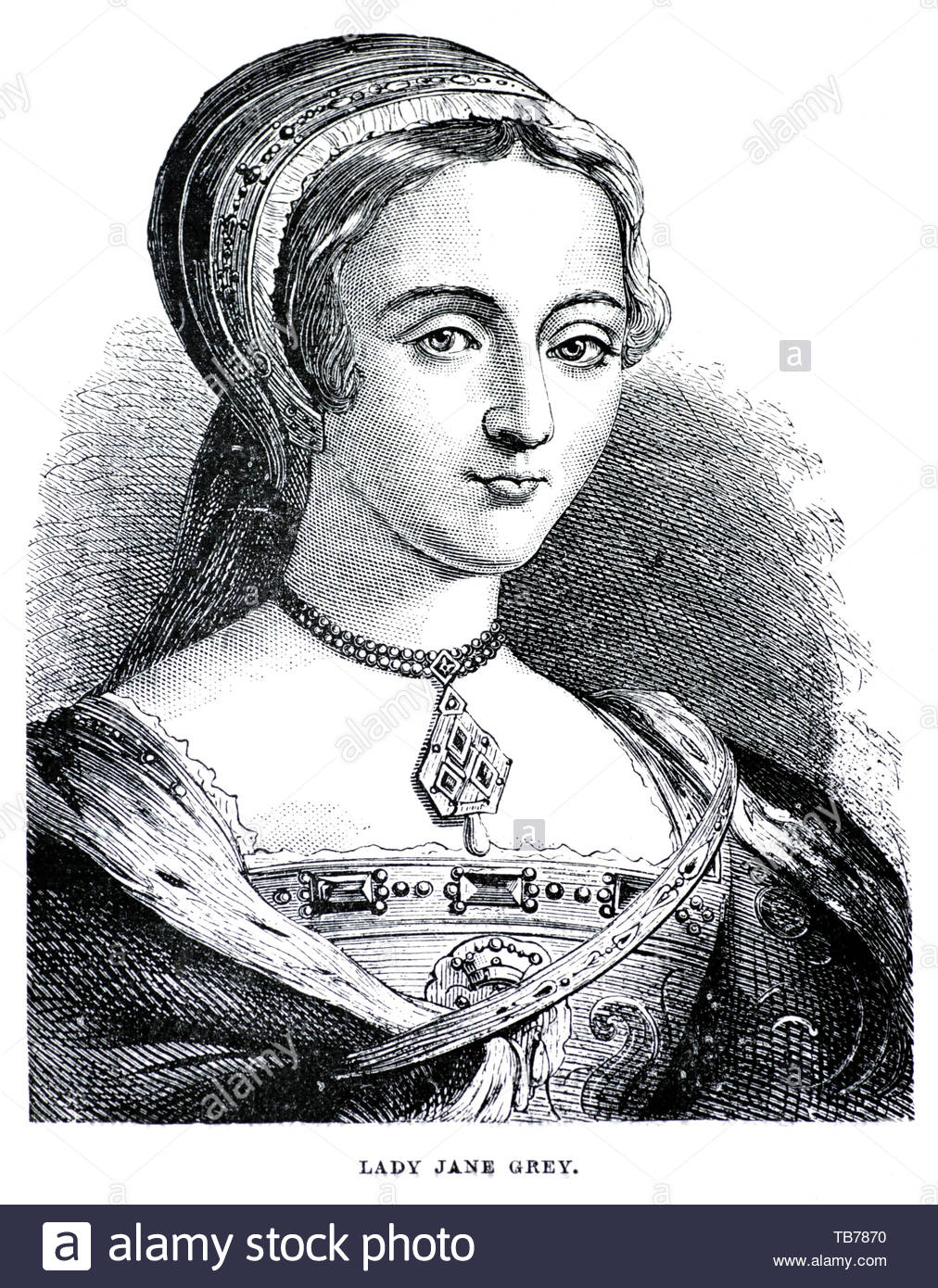 Lady Jane Grey portrait,1537 – 1554, was the disputed Queen of England and Ireland from 10th July until 19th July 1553 - Stock Image