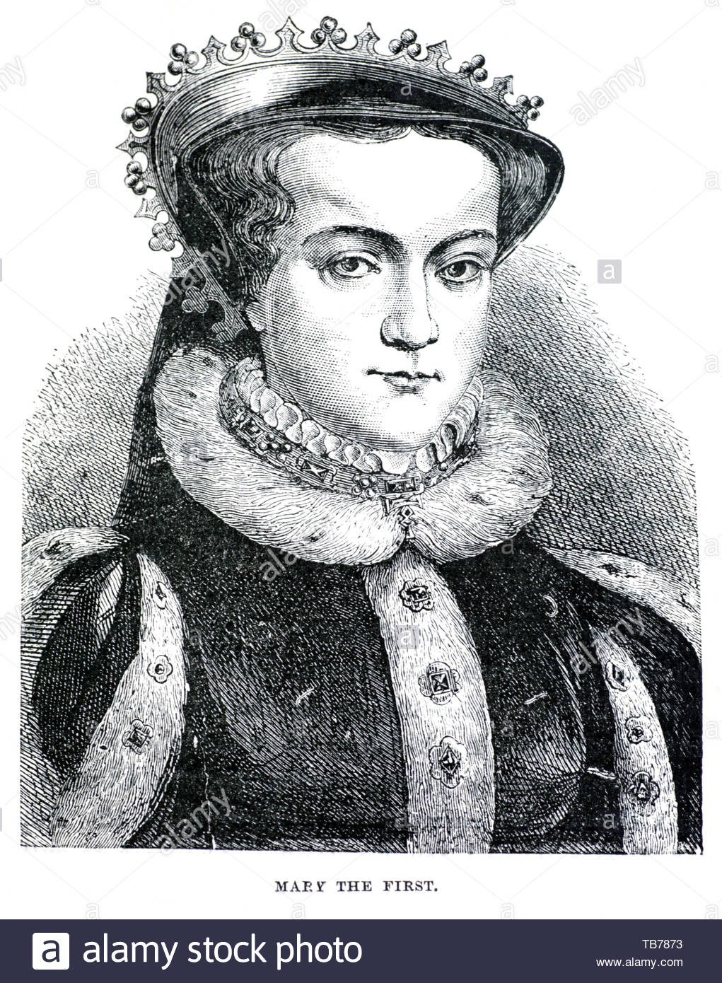 Mary I, 1516 – 1558, was the Queen of England and Ireland from 1553 until her death - Stock Image