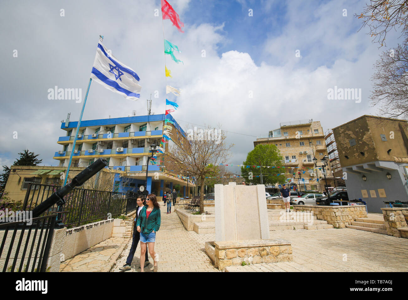 Safed, Israel - April 16, 2019: View of Safed, a city in the Northern District of Israel. Located at an elevation of 900 metres, Safed is the highest  Stock Photo