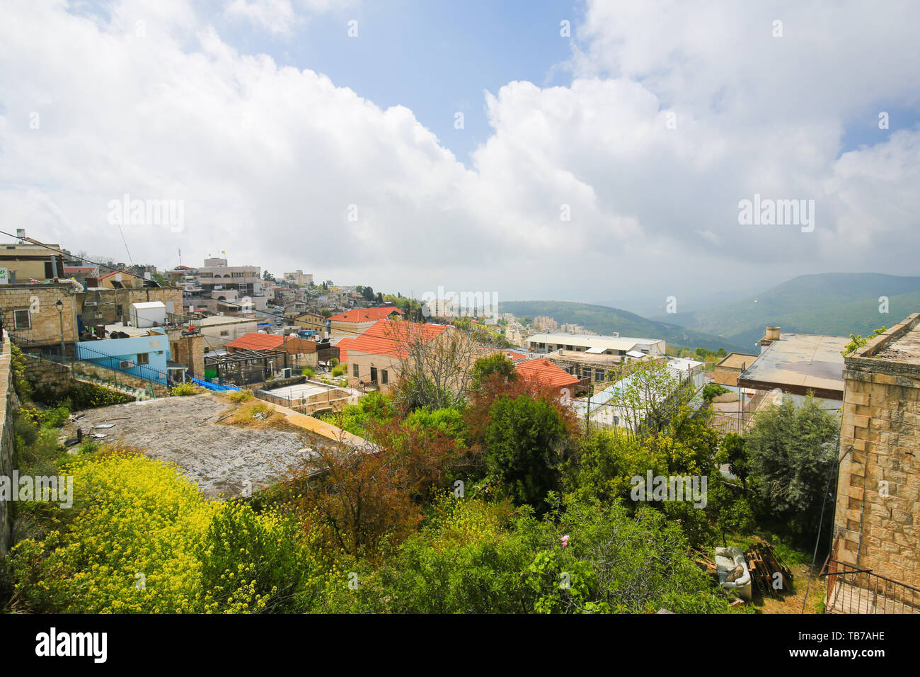 View of Safed, a city in the Northern District of Israel. Located at an elevation of 900 metres, Safed is the highest city in the Galilee and in Israe Stock Photo