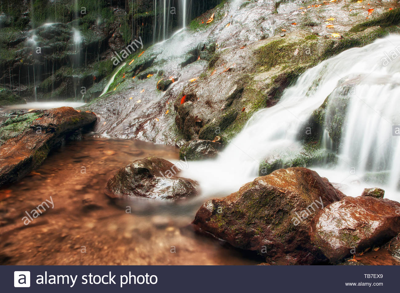 Waterfall , warm tone and long exposure - Stock Image
