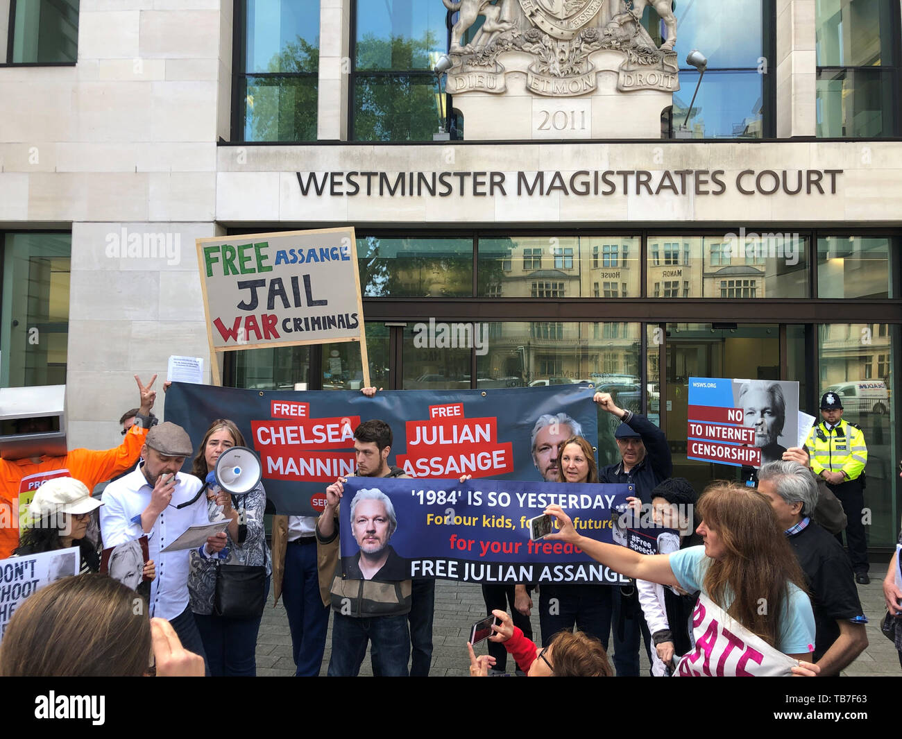 Julian Assange supporters outside Westminster Magistrates