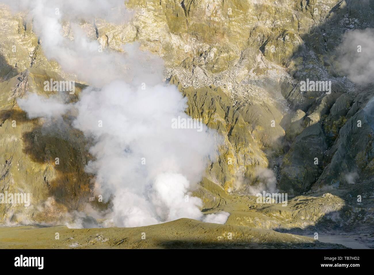 Fumaroles on the volcanic island of White Island, Whakaari, Bay of Plenty, North Island, New Zealand - Stock Image