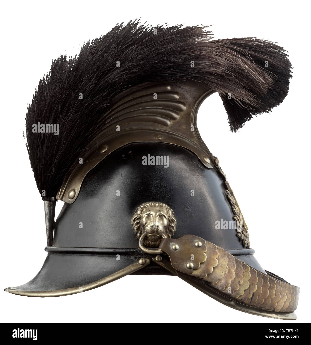 Body armour, helmets, Bavarian mounted militia helmet model 1845, leather and silver-plated brass, Editorial-Use-Only - Stock Image