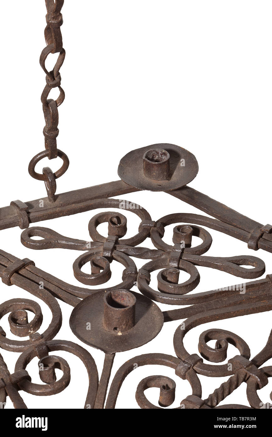 A Wrought Iron Chandelier Circa 1600 The Hexagonal Frame Forged Of Hoop Iron Six Candle Holders