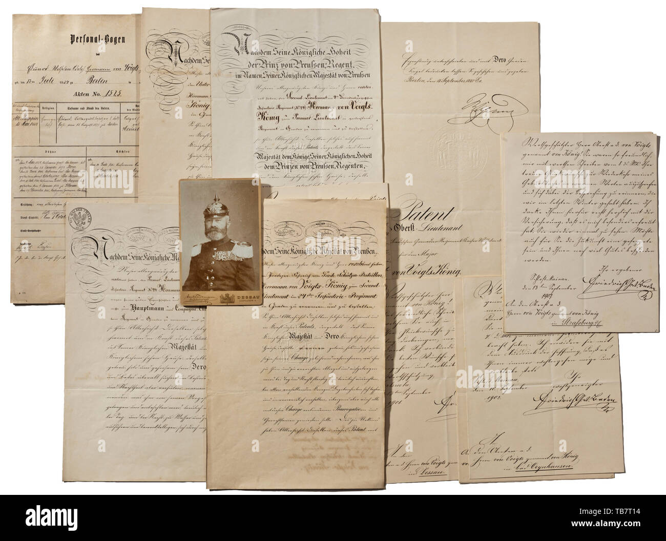 Oberst Hermann von Voigts-König - certificates and documents belonging to the commander of the 1st/2nd Badisches Landwehr-Regt. 111, Patent to Portepee-Fähnrich (cadet officer) in the Prussian Garde-Schützen-Bataillon in 1852, to Second Lieutenant in the 24th (4th Brandenburg) Infanterie-Regiment in 1853 and to Premier-Lieutenant in 1860, all unsigned. Patent to Hauptmann and company commander in 1866, to Major in the 2nd Badisches Grenadier Regiment Kaiser Wilhelm no. 110 in 1873 and to Oberst-Lieutenant in 1880. all three documents bearing the , Additional-Rights-Clearance-Info-Not-Available - Stock Image