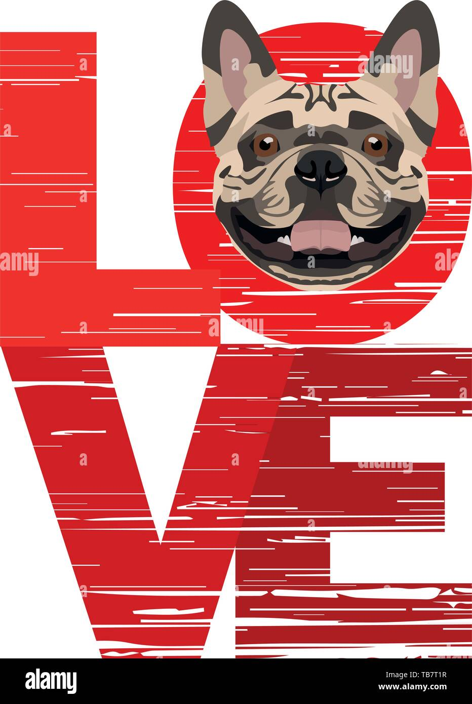 Love French Bulldog - A dog's head with the word love  The