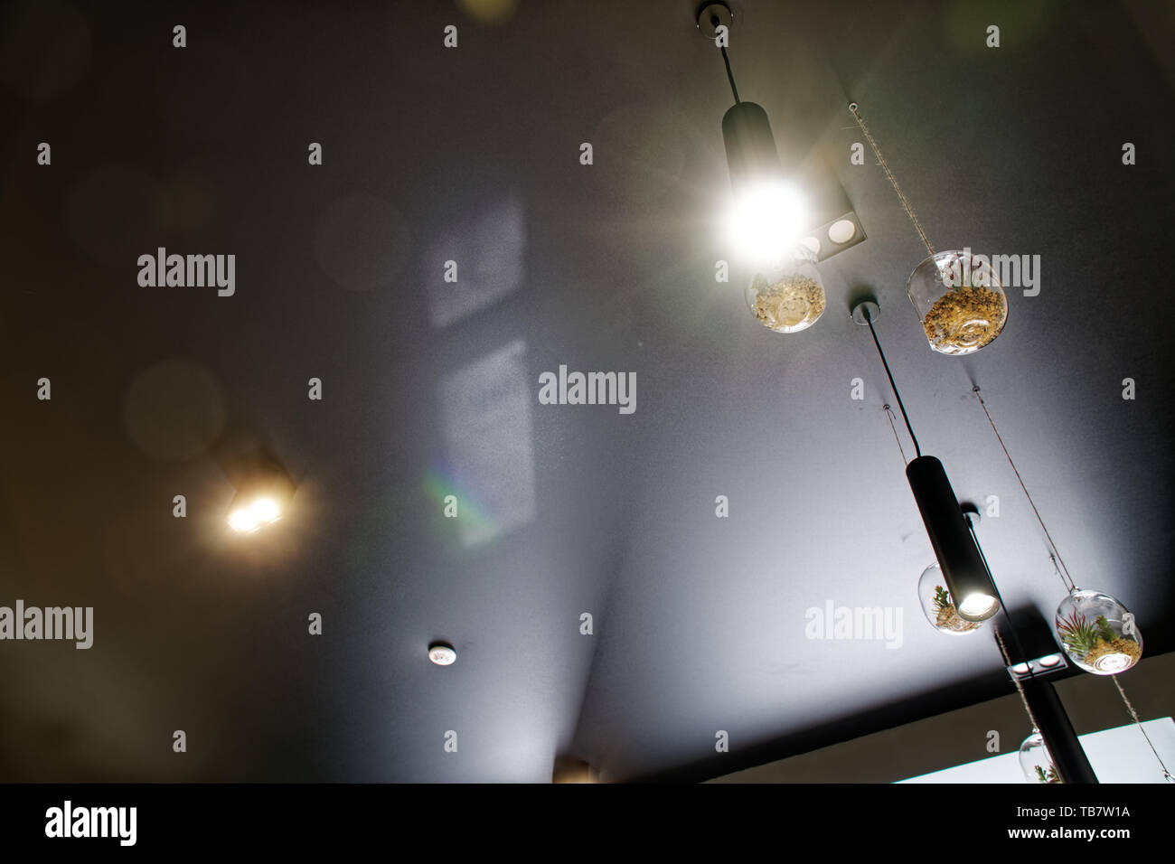 Decorative Lighting Design Cafe Interior Light Lamp With Bulb Hanging In The Cafe Decorative Industrial Interior Loft Style In The Restaurant Pan Stock Photo Alamy