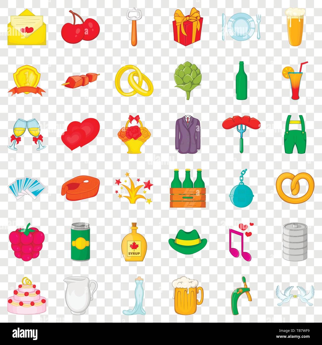 Basket icons set, cartoon style - Stock Image