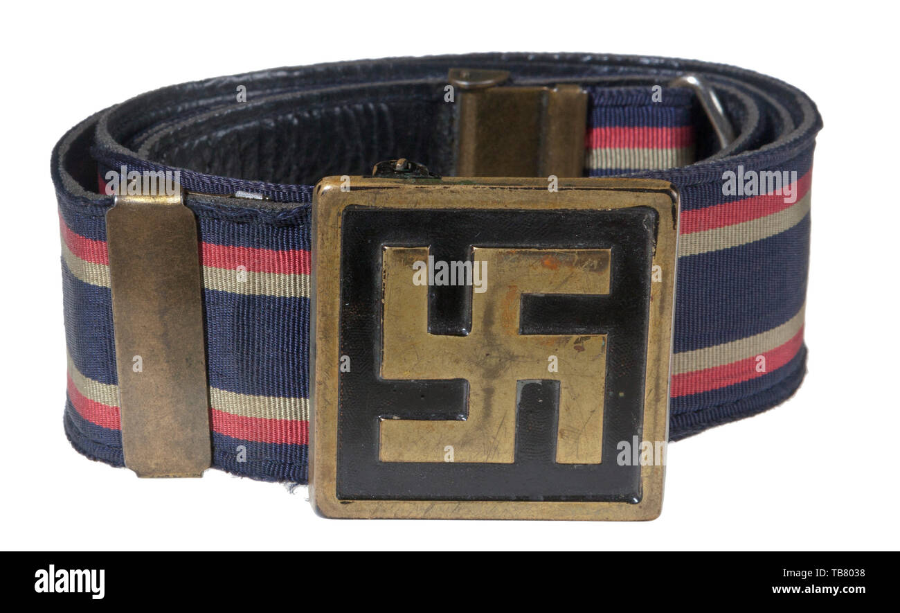 THE JOHN WAHL BELT AND BUCKLE COLLECTION, An unattributed/unofficial Patriotic Belt and Buckle, Stamped brass 42.5 mm square buckle with raised national emblem on black painted background. 35 mm black leather backed blue, fabric with two yellow and red stripes bordering the outer edges. Two vertical brass keepers and catch. Length approx. 85 mm. Cf. Angolia, Belt Buckles & Brocades of the Third Reich, p. 586., Editorial-Use-Only - Stock Image