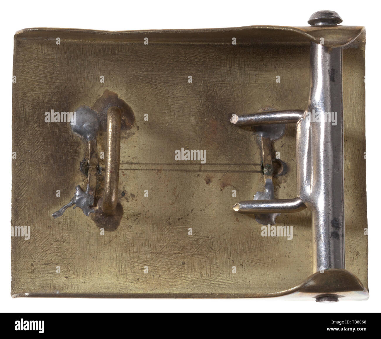THE JOHN WAHL BELT AND BUCKLE COLLECTION, An unattributed Belt Buckle, Stamped brass, smooth outer field, brass horizontal bar similar to Wolfsangel applied with four folded soldered pins. Possibly Deutsches Jungvolk related. Cf. Angolia, Belt Buckles & Brocades of the Third Reich, p. 589., Editorial-Use-Only - Stock Image