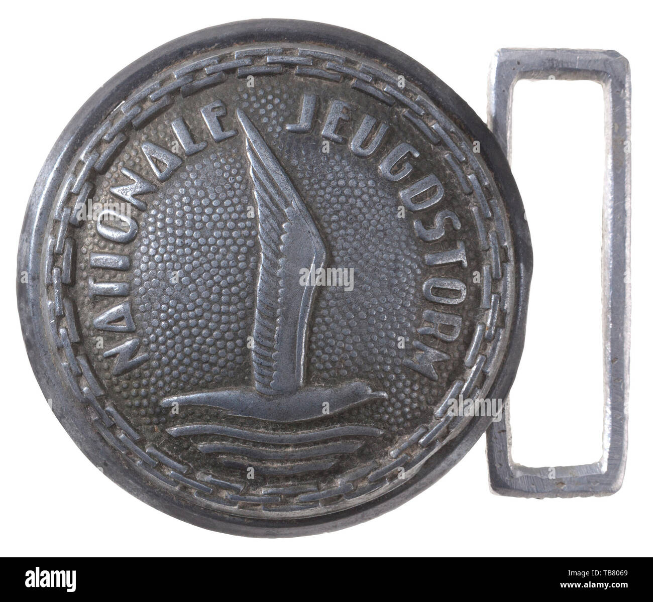 THE JOHN WAHL BELT AND BUCKLE COLLECTION, An unattributed National Youth Storm Officer Belt Buckle, Stamped aluminium, 45 mm diameter., Additional-Rights-Clearance-Info-Not-Available - Stock Image