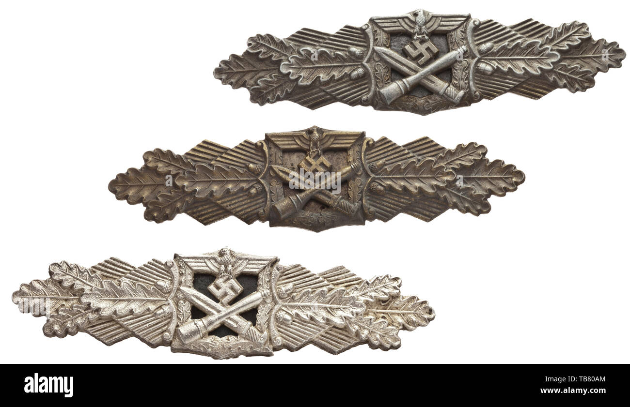 Close Combat Clasps - two of Grade I for 15- and one of Grade II for 30 close combat days, Silver clasp (Grade II) by the Arbeitsgemeinschaft Metall und Kunststoff in Gablonz (A.G.M.u.K.) in the issue of large font and a crimped blued steel reverse plate (reaffixed during time of use). Heavily silvered with blistering, in very good condition. Width 97.5 mm. Weight 35.8 g. Also, a Grade I clasp in bronze produced in bronzed zinc by maker Steinhauer & Lück in Lüdenscheid with full-waisted attachment pin. Width 97 mm. Weight 27.9 g. Further, a thus far unattributed Grade I cla, Editorial-Use-Only - Stock Image