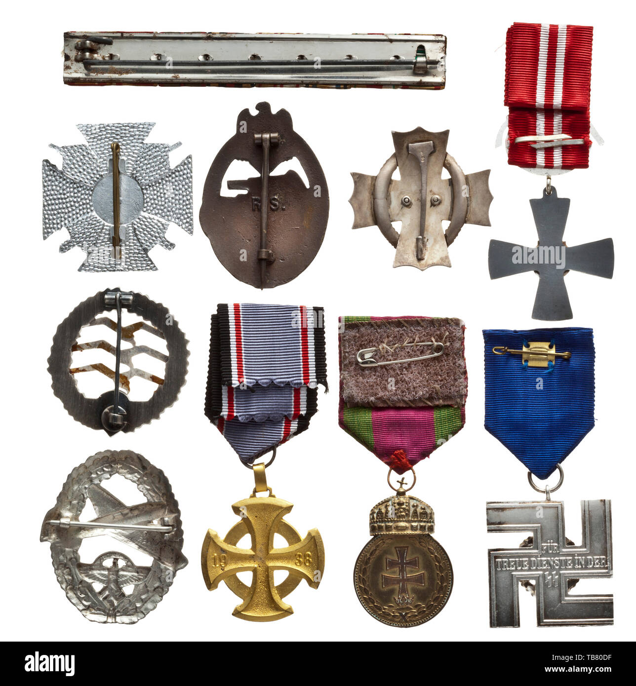 A large collection of copies and forgeries, More than 200 modern copies of decorations, predominately of the Third Reich and royal and imperial (Austria-Hungarian) monarchy. Production quality from the 1970s and 1980s (Souval etc.). Also, a few original and less valuable decorations as well as field orders clasps. A very extensive lot. Pre-auction viewing recommended. medal, decoration, medals, decorations, badge of honour, badge of honor, badges of honour, badges of honor, object, objects, stills, clipping, clippings, cut out, cut-out, cut-outs, historic, historical 20th c, Editorial-Use-Only - Stock Image