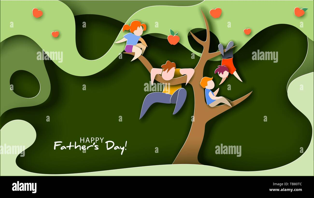 Father and children climbed tree for fun. Happy father s day card. Flat style. Vector illustration - Stock Vector