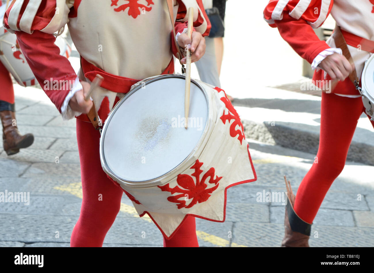 Drum players of the medieval historical procession Stock Photo