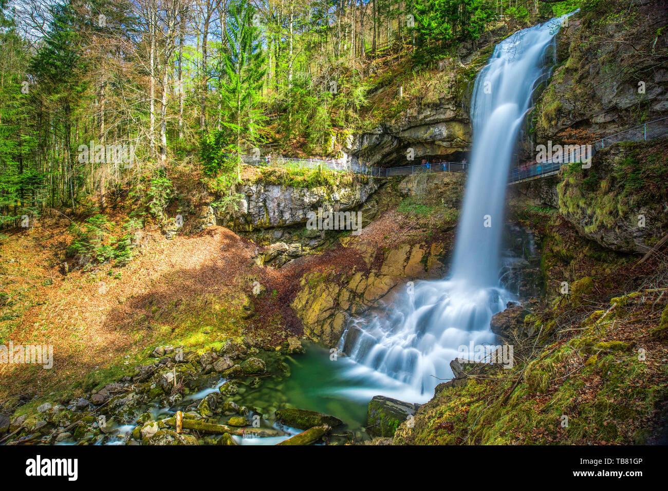 Giessbach waterfall on the Brienzersee near Interlaken, Brienz, Switzerland, Europe. Stock Photo