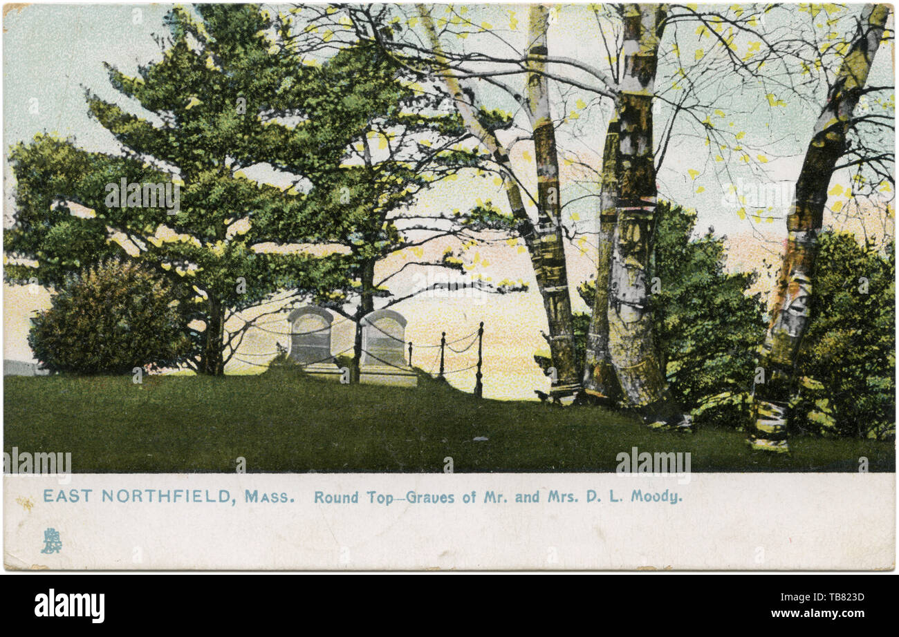 Graves of American evangelist D.L. Moody and wife, Emma Revell Moody, at Round Top, East Northfield, Massachusetts. (USA) - Stock Image