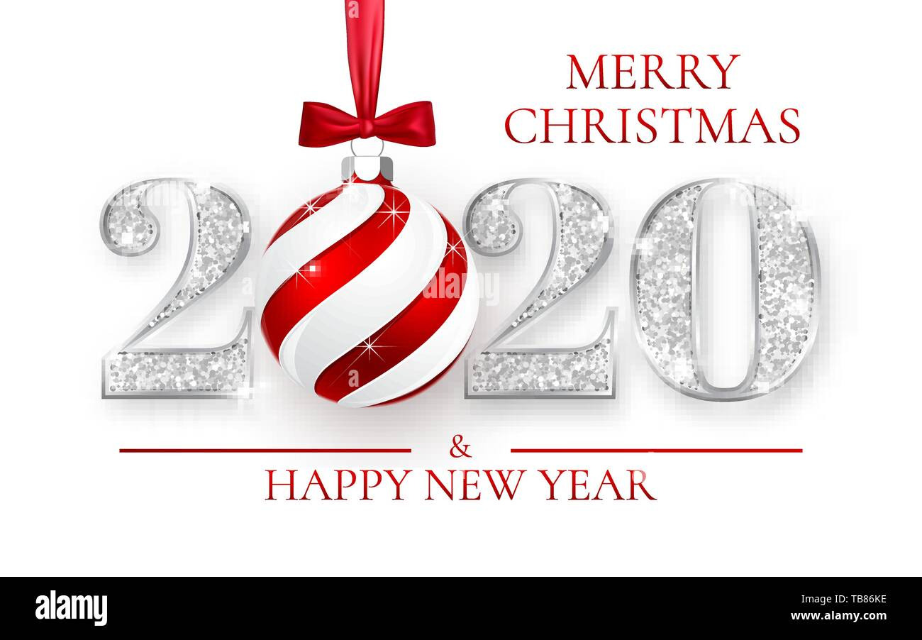 2020 Christmas Numbers Happy New Year 2020, silver numbers design of greeting card, Xmas