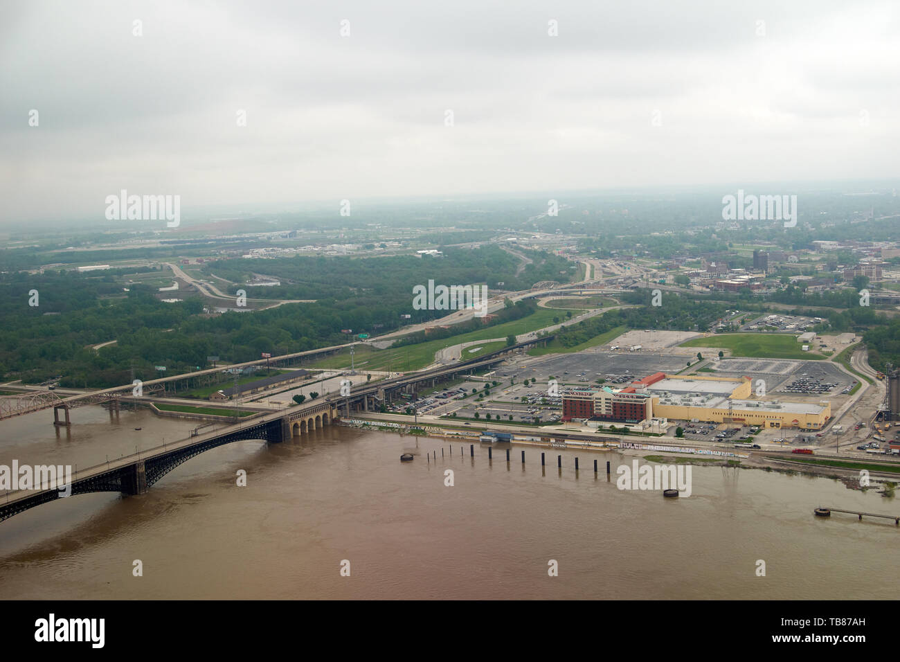 St  Louis, USA - May 3, 2019: Flooded Mississippi River in St  Louis