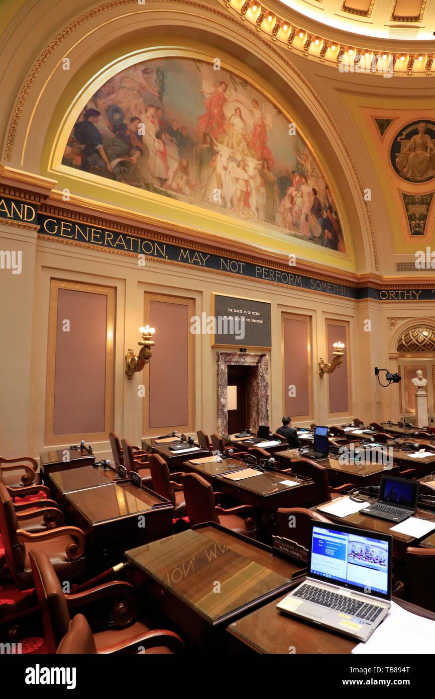 A computer on the table inside of Minnesota Senate Chamber in Minnesota State Capitol.Saint Paul.Minnesota.USA Stock Photo