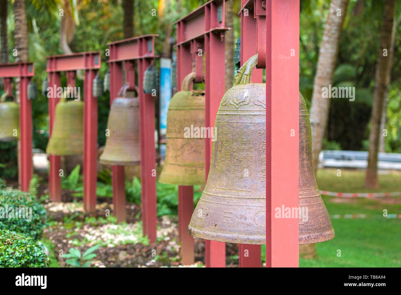 Chisinau, Moldova November 23, 2017: Square Bells in the center of Buddhism Nanshan on the island of Hainan in China Stock Photo