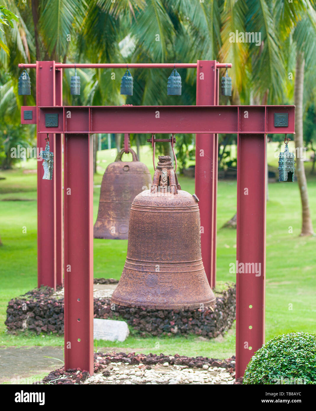 Square Bells in the center of Buddhism Nanshan on the island of Hainan in China. Stock Photo