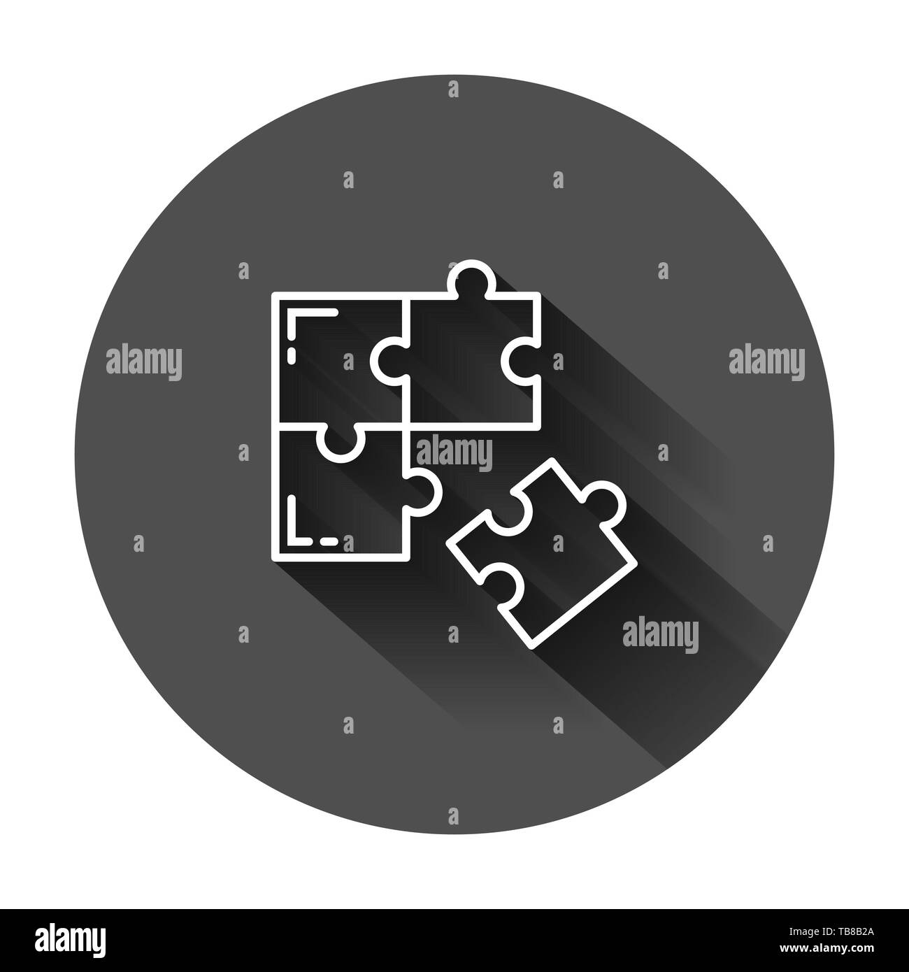 Puzzle compatible icon in flat style. Jigsaw agreement vector illustration on black round background with long shadow. Cooperation solution business c Stock Vector