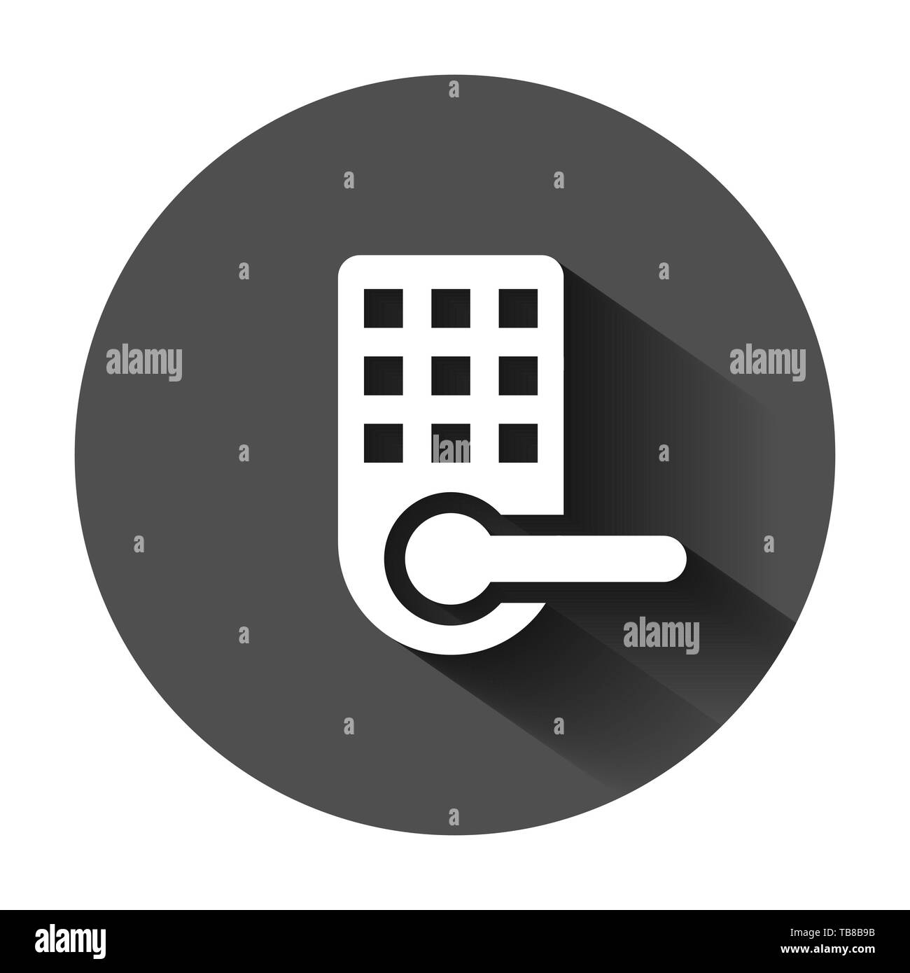 Wireless door lock sign icon in flat style. Smart home vector illustration on black round background with long shadow. Remote system business concept. - Stock Image