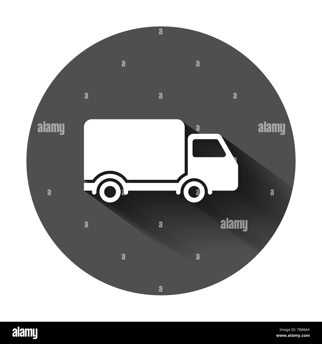 Delivery truck sign icon in flat style. Van vector illustration on black round background with long shadow. Cargo car business concept. - Stock Image